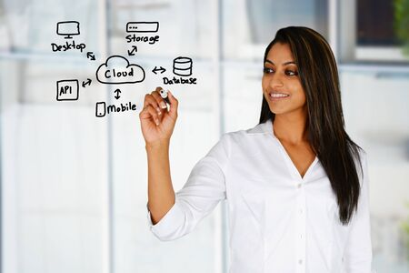 Woman who is designing a web site Stock Photo