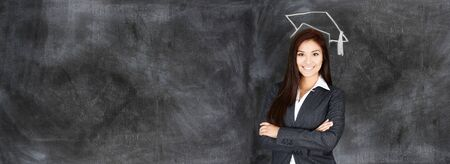 business education: Confident businesswoman who is ready for work
