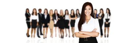 professional woman: Group of businessmen and women working together
