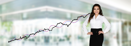 market crash: Confident businesswoman who is working at the stock market