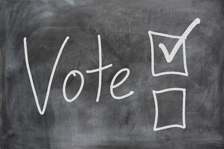 voted: Voting boxes displayed on a chalk board