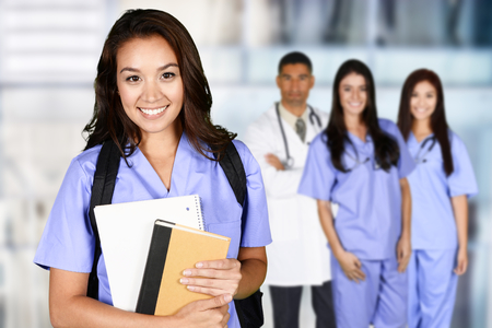 Woman who is graduating from nursing school. Stock Photo