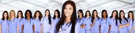 black nurse: Large group of nurses together in the hospital