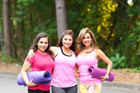 mothers group: Group of women doing a group fitness workout together Stock Photo