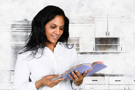 christian: Woman who is happy to be studying the Bible Stock Photo