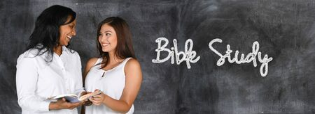 church group: Woman who is happy to be studying the Bible Stock Photo
