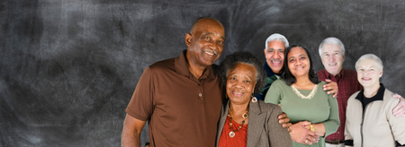 Group of elderly couples of all races photo