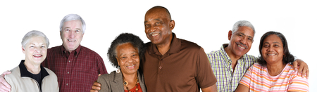 diverse family: Group of elderly couples of all races Stock Photo