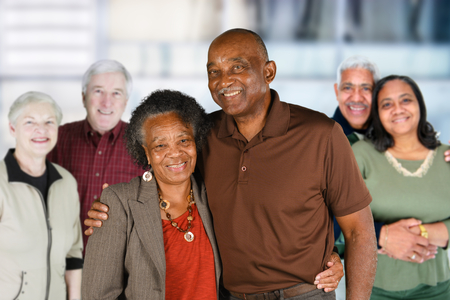 Group of elderly couples of all races Stockfoto