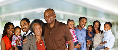 Large group of African American family members