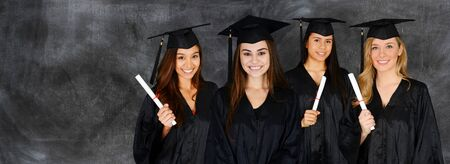Student graduating school with a cap and gown photo