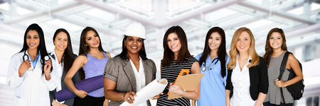 Large group of women working at their jobs photo