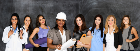 Large group of women working at their jobs