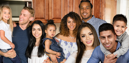 Large group of happy families of different races Stock Photo