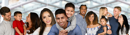 Large group of happy families of different races Banco de Imagens