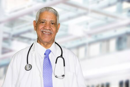 Elderly black doctor working in a hospital