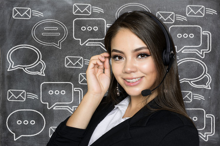 Businesswoman offering customer support services to clients