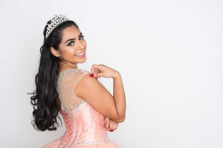 Teen girl competing in a beauty pageant