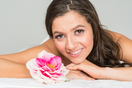 Beautiful woman getting a treatment at the spa Stock Photo