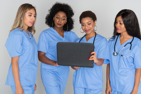 Nurses who are working in a hospital together Stock Photo