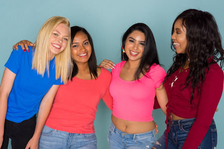 Group of young female friends spending time together