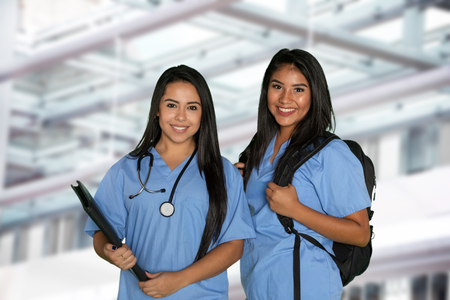 Group of nursing students working on their education