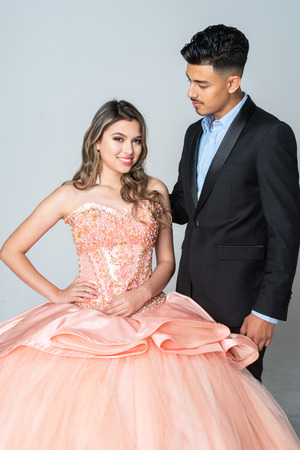 Teen hispanic girl going to her quinceanera or prom