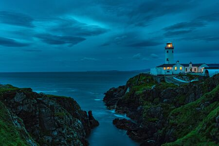 Fanad lighthouse at night in Ireland during the summer Stockfoto