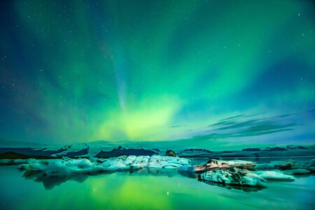 Northern Lights Aurora In Iceland set in the Glacier Lagoon