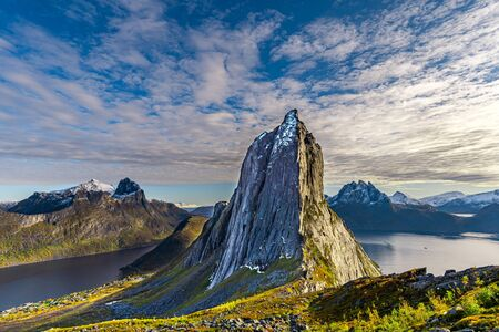 View of Segla mountain in Senja, Norway during the summer Banco de Imagens