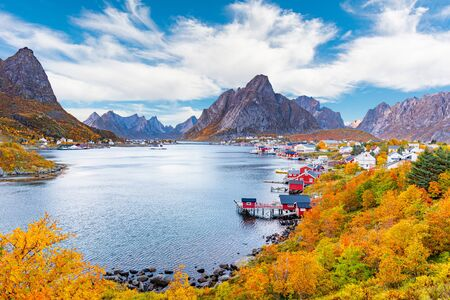 Clouds over the fishing village of Reine in Lofoten Islands, Norway