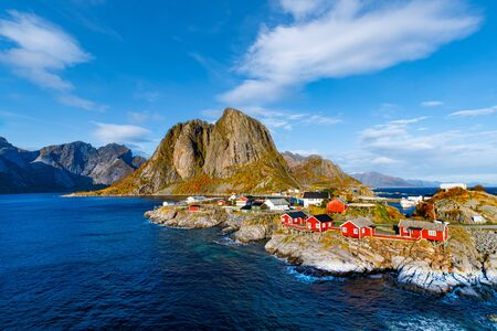 Clouds over the fishing village of Hamnoy in Lofoten Islands, Norway