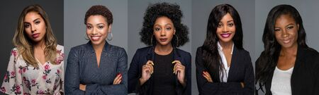 Group of 5 African American minority young women who are ready for work or relaxing