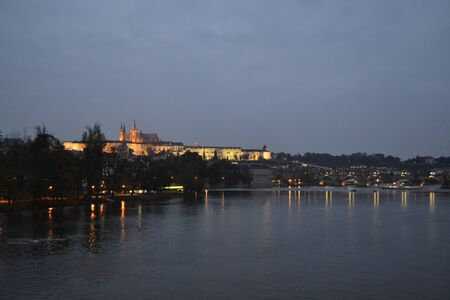 vltava: Picture of the Vltava river from the South of the Charles Bridge at night