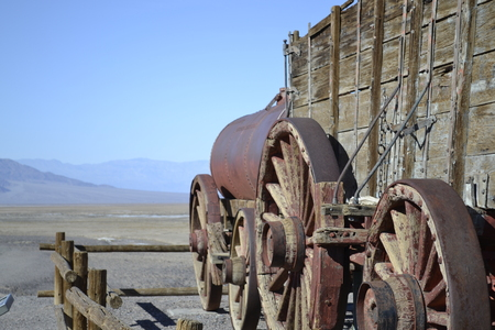 Wooden train used for transporting minerals in and out of the Death Valley photo