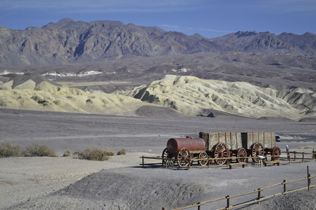 borax: Wooden train used for transporting minerals in and out of the Death Valley Stock Photo