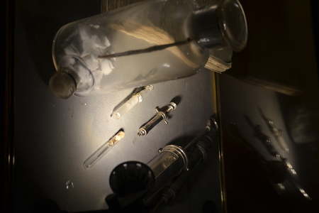 inoculate: Old fashion syringes used to inoculate the first vaccines