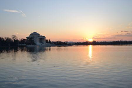 jefferson: Sunset by the Thomas Jefferson Memorial in Washington DC