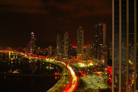 Financial district of Panama City at night Stock Photo