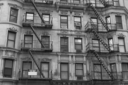 fire escape: Characteristic fire escape that can be found in many areas of NYC Stock Photo