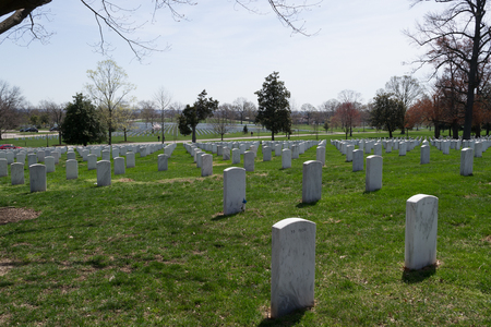 military cemetery: The Arlington Cemetery is the US military cemetery in which soldiers who died in national conflicts since the Civil War are Buried. Stock Photo