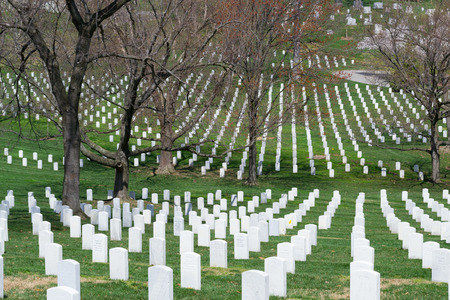 The Arlington Cemetery is the US military cemetery in which soldiers who died in national conflicts since the Civil War are Buried. Stock Photo
