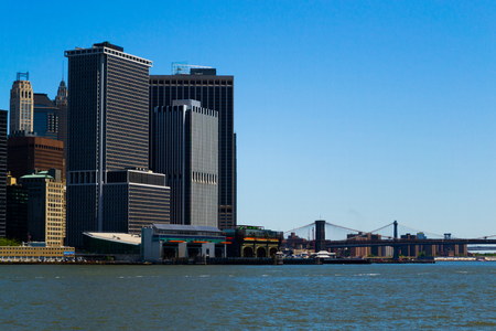 staten: Battery park and the Southern tip of Manhattan from a ferry to Staten Island