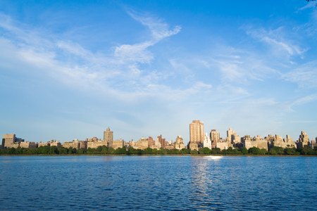 sky scrapers: Views of NYC Upper East Side from the west of the Jaqueline Kenedy Onassis Reservoir