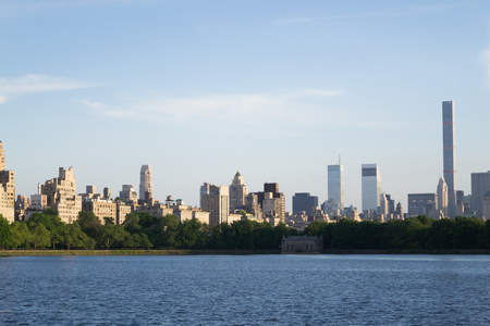 scrapers: Views of NYC Upper East Side from the west of the Jaqueline Kenedy Onassis Reservoir