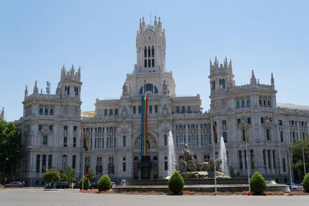 paseo: Cybele square with the fountain and the Cybele palace in Madrid is one of the main Landmarks of the city