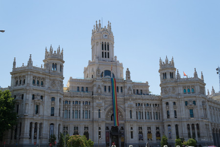 neoclassic: Cybele square with the fountain and the Cybele palace in Madrid is one of the main Landmarks of the city