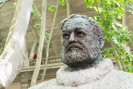 hemingway: Bust of Ernest Hemingway at by the main entrance of the bullfighting arena in Pamplona
