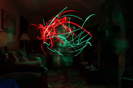 flashlights: Long exposure of people moving with flashlights