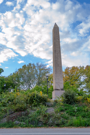 heliopolis: Cleopatras needle in Central Park is the oldest outdoor monument that can be found in NYC Stock Photo
